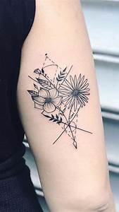 Geometric Sunflower Back of Arm Tattoo Ideas for Women ...
