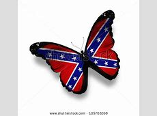 Confederate Rebel Flag Butterfly, Isolated On White Stock