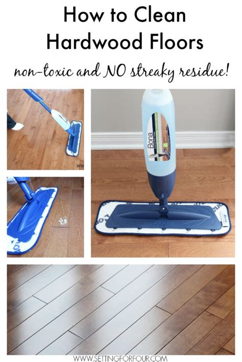 clean hardwood floor care tips and free spring cleaning printable setting for four