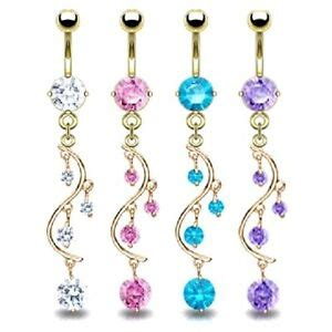 real gold plated long shiny cz gem belly button navel ring