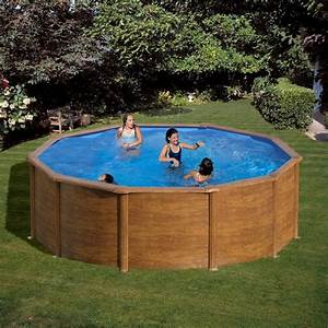 Piscine Hors Sol Acier Imitation Bois : piscina desmontable gre sicilia circular imitaci n madera ~ Dailycaller-alerts.com Idées de Décoration