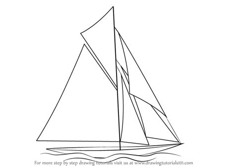How To Draw A Boat Sailing by Learn How To Draw A Sailboat Boats And Ships Step By