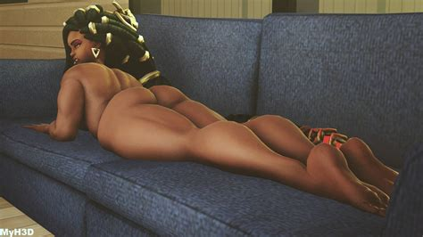 Rule 34 3d Ass Back Back View Couch Dark Skinned Female