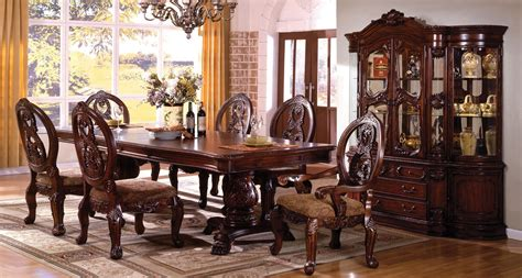 antique dining room sets for tuscany ii antique cherry rectangle extending dbl pedestal 9022