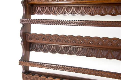 antique plate rack solid walnut victorian chip carved hanging shelf reduced  stdibs