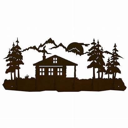 Cabin Clip Silhouette Rustic Coat Pines Hook