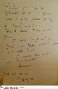 I received a birthday card thanks grampa funny for Letter to grandma from grandson