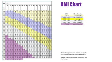 general bmi chart  printable  templateroller