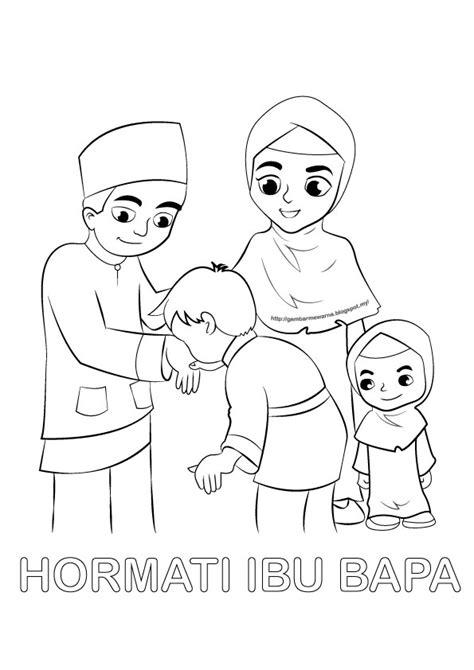 poster mewarna hormati ibu bapa gambar mewarna