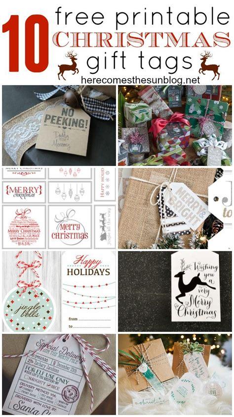10 free printable christmas gift tags here comes the sun