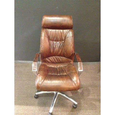 fauteuil de bureau cuir vintage chaise de bureau vintage en cuir marron achat vente