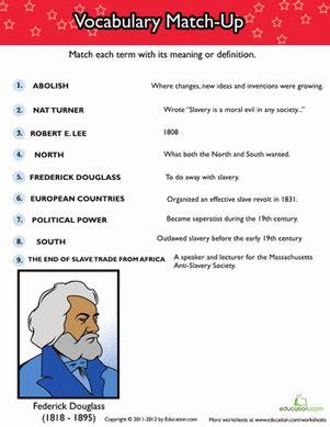 history of slavery vocabulary match up worksheet