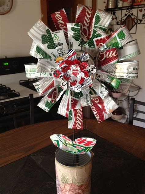 recycled beer  flower  bouquet   cut