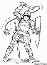 Knight Coloring Mace Knights Pages Soldiers Colorkid sketch template