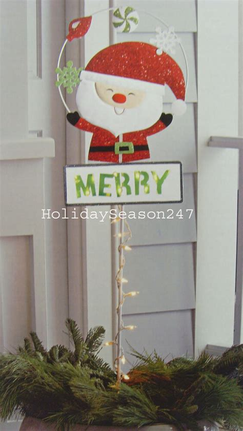 12 days of christmas metal yard art santa lawn stake 35 lights metal sign merry yard display decoration 741895365606 ebay