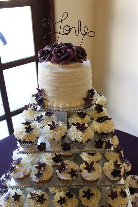 fondant roses  eggplant color buttercream frosting cake