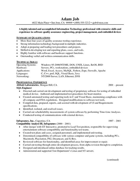 sle resume format for experienced engineers 28 images quality assurance engineer resume sle 28 images