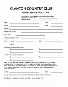 club info clanton country club With social club membership application form template