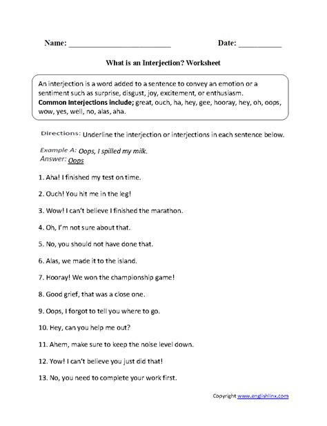 englishlinx interjections worksheets