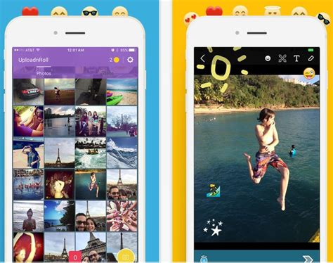 upload camera roll pictures  snapchat  iphone