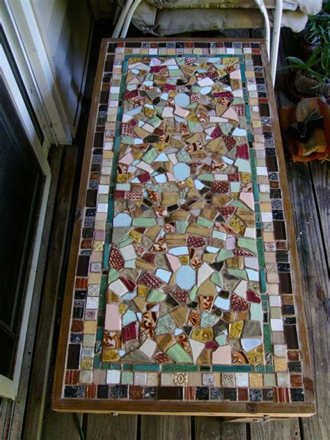 mosaic kitchen table top mosaic table table top with textured clay tiles tutorial
