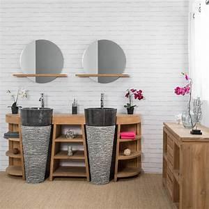 Salle De Bain En L : meuble sous vasque double vasque en bois teck massif vasques en marbre florence naturel ~ Melissatoandfro.com Idées de Décoration