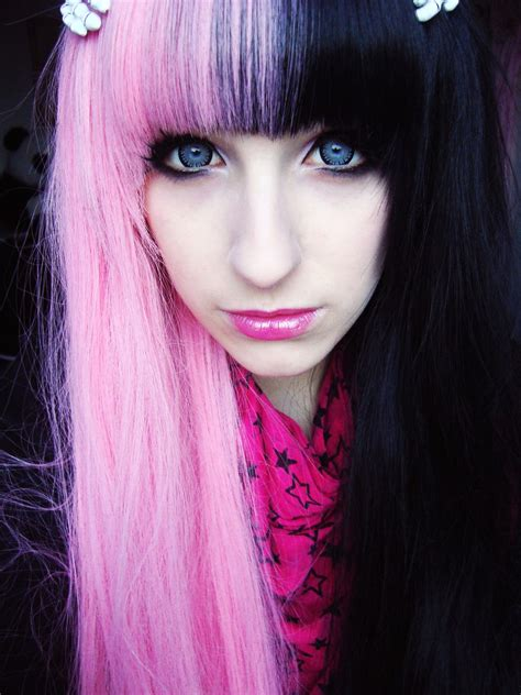 Two tone contrast half pink dyed hair Dyed hair