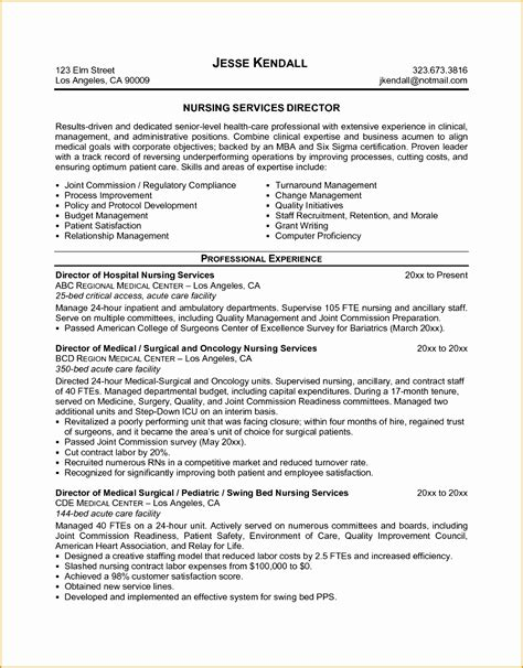 Resume Sle Word by 6 Sle Director Nursing Resume Free Sles Exles