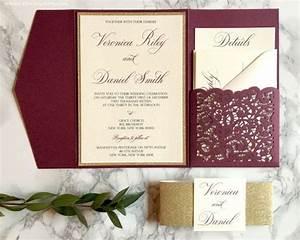 lace laser cut pocket wedding invitation in burgundy and With burgundy wedding invitations kits