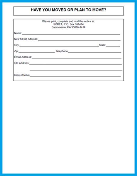 change of address form sle employee change of address form template employee change