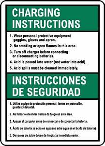 Bilingual Battery Charging Instructions Sign E4584bi