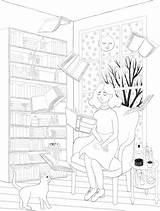 Library Coloring Adult Colouring Books Annyamarttinen Craft sketch template