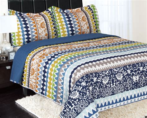Yellow Quilted Coverlet by 3 Reversible Quilted Printed Bedspread Coverlet Blue