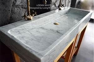 47quot Double Bathroom Sink White Carrara Marble Stone Trough