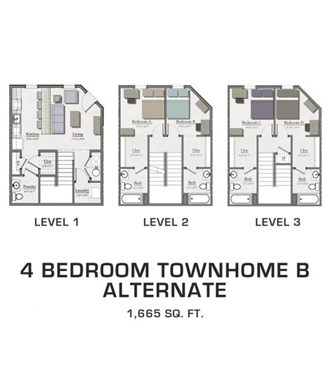4 Bedroom Townhomes For Rent by Floor Plans For Msu Students Student Housing In East Lansing