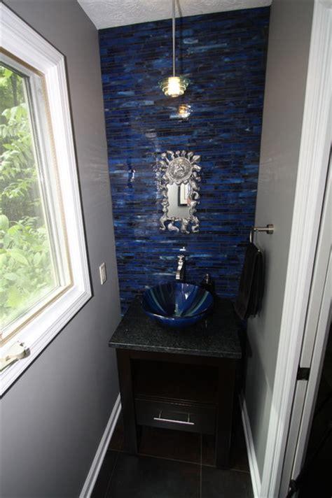 cobalt blue powder room contemporary bathroom
