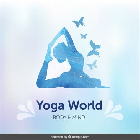 Yoga is one of the six orthodox schools of hindu philosophy. Blue silhoutte yoga background   Free Vector