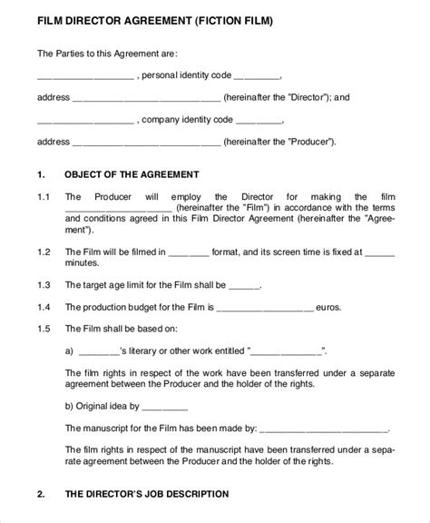 director agreement templates  sample