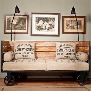 Couch Vintage Look : industrial chic vintage trolley sofa on wheels vintage industrial style furniture and diy ~ Sanjose-hotels-ca.com Haus und Dekorationen