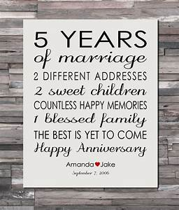 anniversary gift print 5 year wedding 5th anniversary With five year wedding anniversary gift
