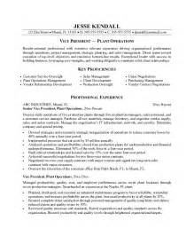 vice president resume operations exle vice president of plant operations resume sle