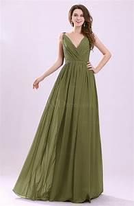 olive green modern a line sleeveless zipper chiffon With olive green wedding dress