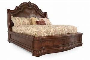 76, u0026quot, , traditional, arched, sleigh, bed, in, brown