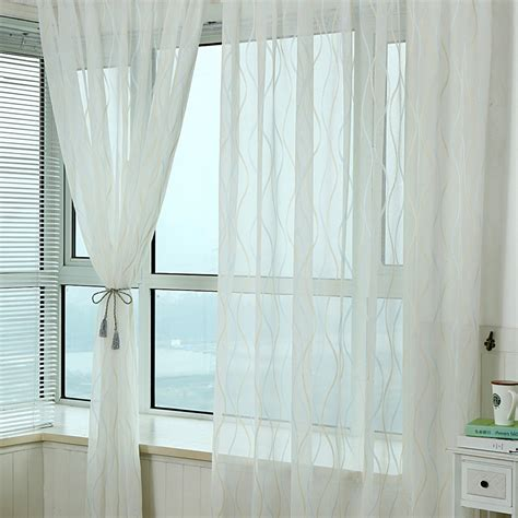 sheer curtain panels cheap discount white lines pattern sheer curtains