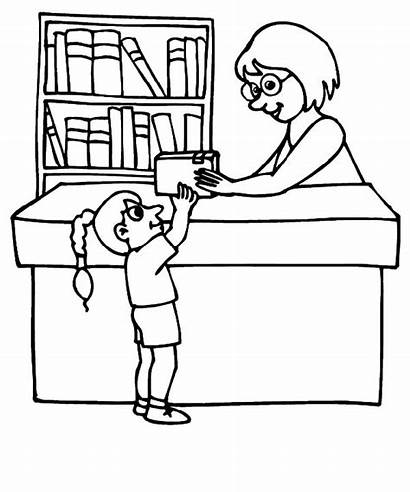 Library Coloring Clipart Librarian Books Drawing Clip