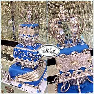 Royal blue & silver birthday cake for a king! www