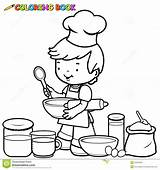 Utensils Coloring Outline Cook Kitchen Boy Child Preparing Cooking Holding Illustration Vector Dreamstime sketch template