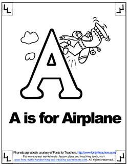 alphabet coloring    airplane