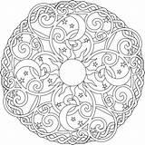 Mandala Coloring Moon Sun Printable Adults Getcolorings sketch template
