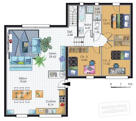 plan maison plain pied 4 chambres garage maison de plainpied 2 dé du plan de maison de